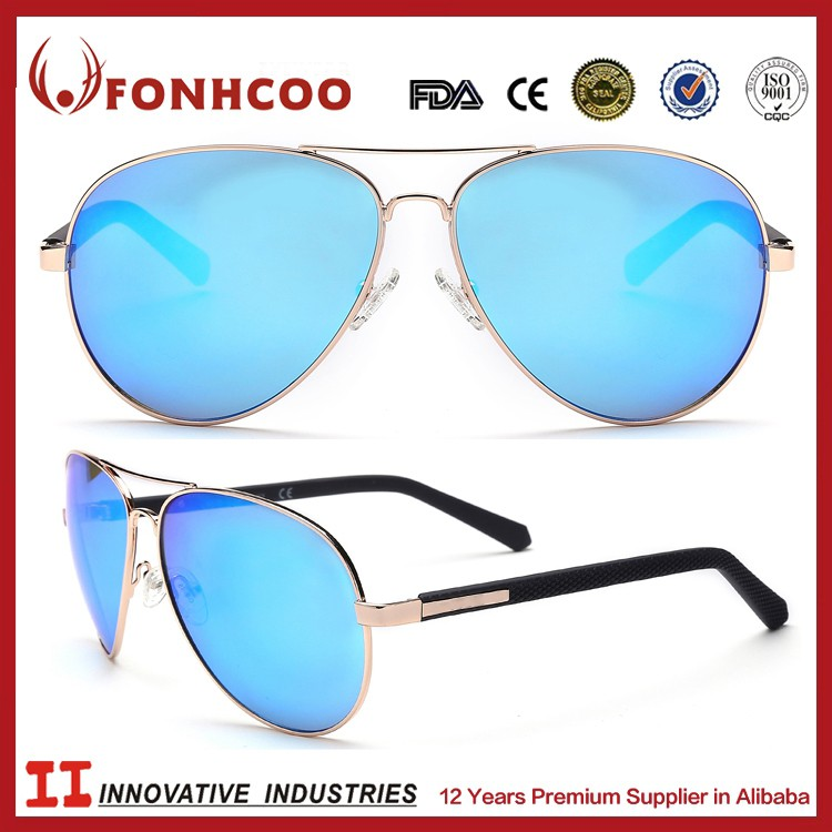 FONHCOO Hot Sell Double Metal Bridge Safety Glasses Cheap Wholesale Fashion Sunglasses