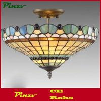 PEACOCK TIFFANY STYLE GLASS SEMI FLUSH CEILING LIGHT - CHRISTMAS - XMAS GIFT