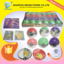 2017 Hot selling 4 colors Cartoon ball toy candy and 3D card