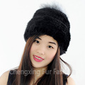 CX-C-221A Wholesale Girl Fashion Fox Fur Ball Knitted Mink Fur Winter Pom Pom Hat