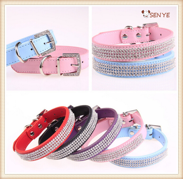 Fashion Faux Leather PU Crystal Dog Collar Manufactury Collar Of Dog