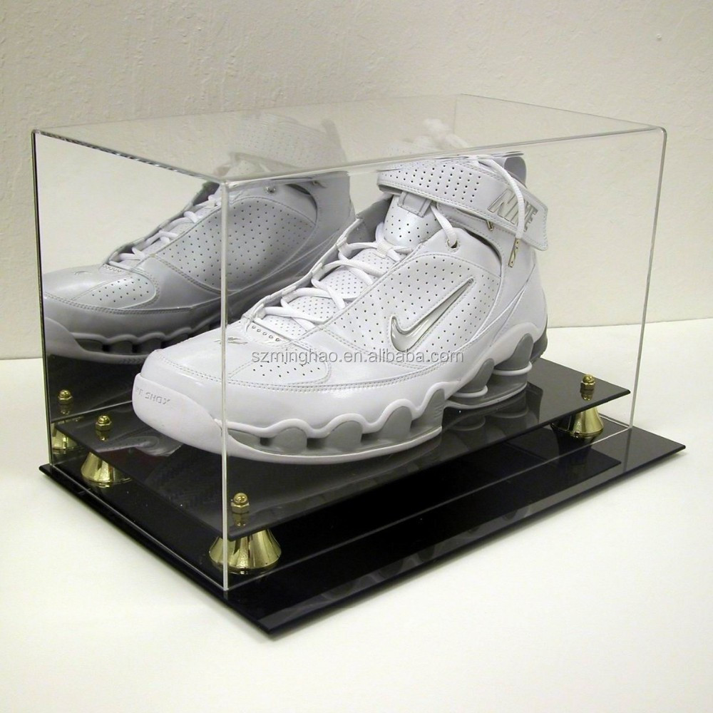 Custom acrylic shoe display box case with mirror and base