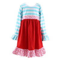 2016 Latest autumn children girl o neck long sleeve ruffle dress USA knit cotton dresses of graduation for girl of kinder