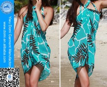 OEM & ODM customized printed leaf pattern beach sarong