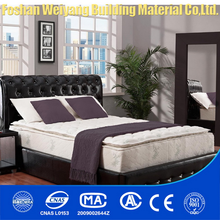 WSS724 comfortable hotel box bed 100% natural latex pillow top spring mattress