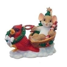 Happy Mouse with Red Bird Figurine Resin Christmas Sleigh