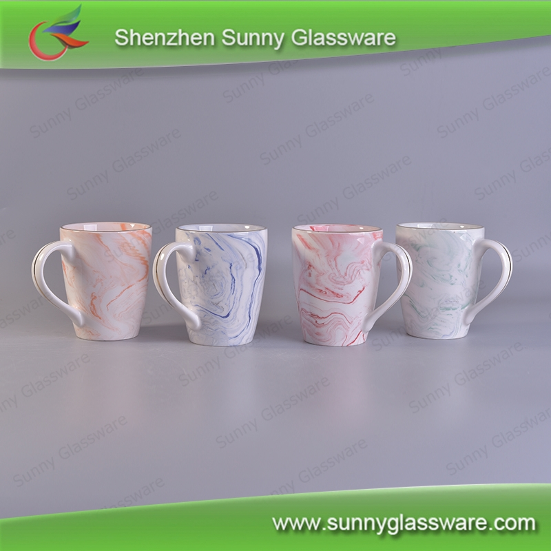 Marble patterned ceramic mug sets for coffee or tea drinking