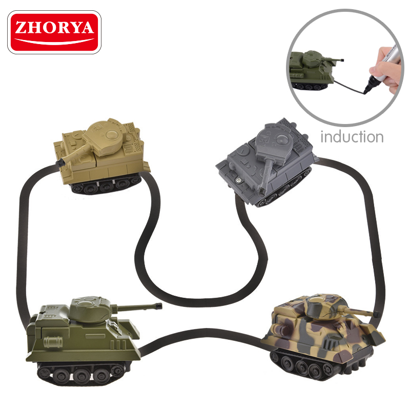 Zhorya hot search boy's new inductive tank truck car set toys with magic pen