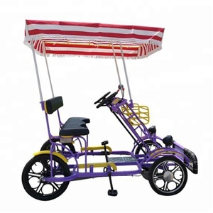 Factory outlet sightseeing tandem four wheels canopy tour Quadricycle Surrey bike cycling