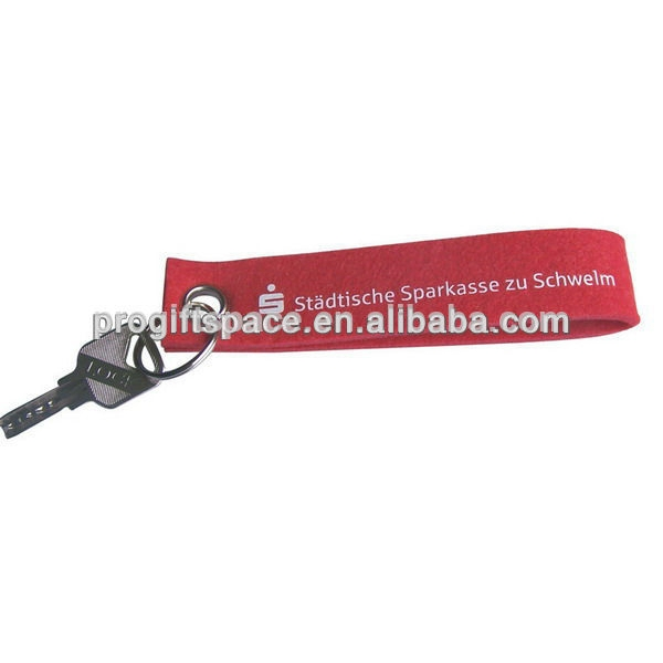 New premium new products red long strip customized fabric key ring holder pendent felt personalized keychain fob