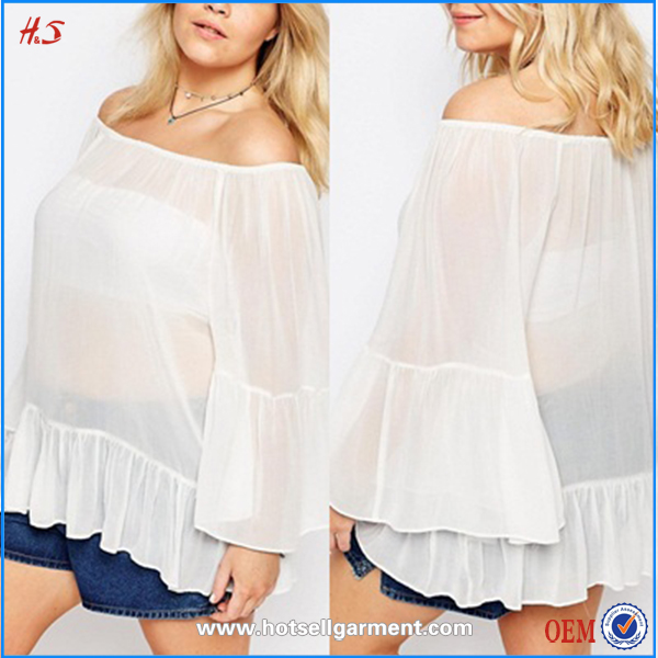 fahion casual long sleeves sexy plain chiffon white blouses designs fat ladies