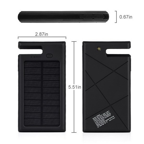 Best Phone Accessory 10000mAh Solar Power Bank with Built in Phone Dock Bateria Externa Battery Case for iPhone