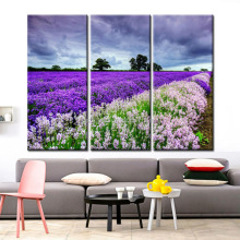 Painting and Decorating Modern Wall Art Room Decoration 3 Panel HD Printed Oil Painting Beautiful Lavender Field Scenery Picture