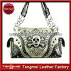 WESTERN RIVETS STUDDED AND RHINESTONE SKULL WOMAN PURSE HANDBAG WITH CRYSTALS