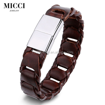 Vintage italian mens wrist strap leather bracelets hand made braided brown leather bracelet