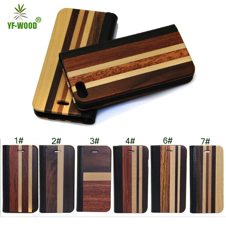 new design wood leather case for iphone 6 wood mobile phone housing