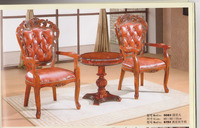 Hot cake solid wooden leather seat new classic European dining chair, wooden dining table and chair