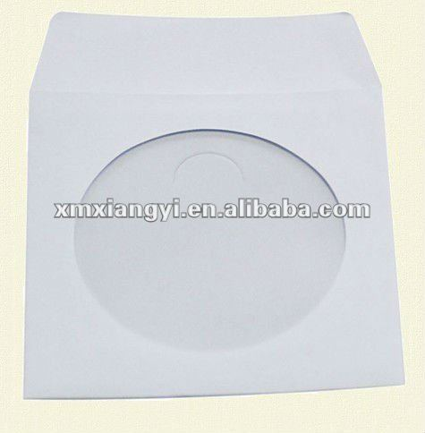 CD DVD White Paper Sleeves, with Clear Window and Flap