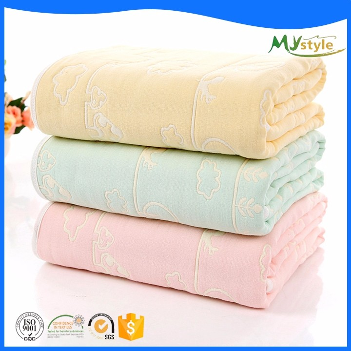 Wholesale 100% Egyptian cotton jacquard pattern baby swaddle wrap blanket