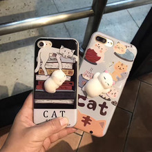 Crazy hot Anti stress cartoon cat sponge soft case for IPhone 7,animal case for IPhone 7