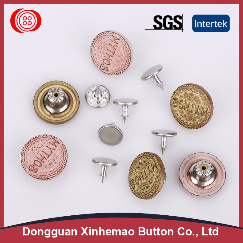 Custom made different types of buttons for jeans