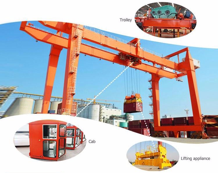 Rail mounted container automatic spreader gantry crane 50t