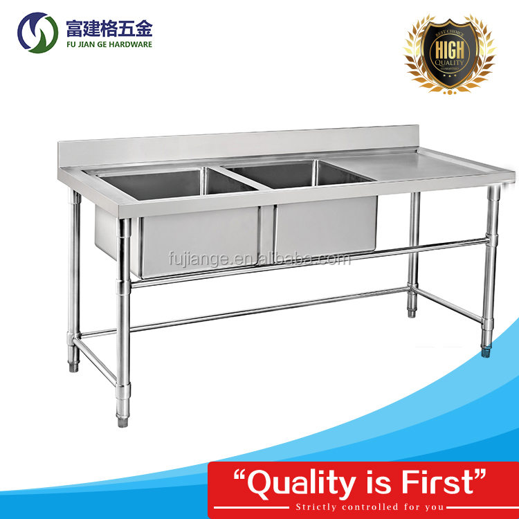 Commercial Kitchen Sink Bench USA Style Double Bowl Stainless Steel Sink With Drainboard