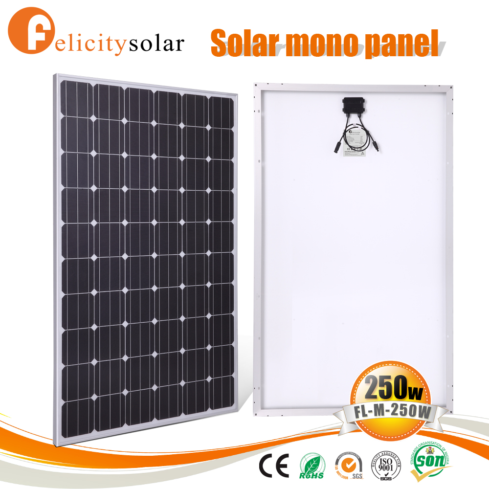 High efficient guangzhou factory price 250w mono pv solar panel solar module price for Uganda