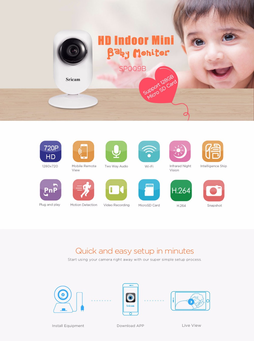 Sricam SP009B OEM/ODM hd night vision wifi baby ip camera 720p wireless wifi indoor cctv p2p camera
