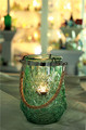 green color diamond pattern embossed hanging glass candle holder with hanging handle