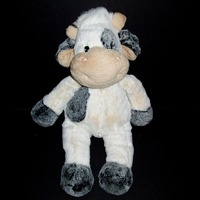 "17"" People Pals Cream Grey Tan Cow Bull Plush Spotted Stuffed Animal Toy"