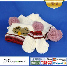 children wholesale animal knitted hat scarf mitten set