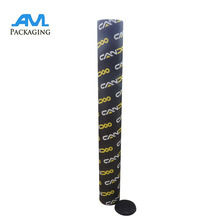 Black cardboard paper poster postal mailing tube with end plastic cap guangdong