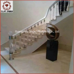 luxury hotel indoor clear crystal stair handrail, new crystal baluster