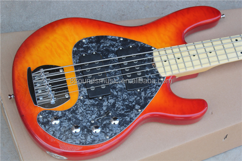 free shipping Ernie Ball music man stingRay Sunburst electric bass 5 string bass guitar 9V active pickup musicman bass guitar VS
