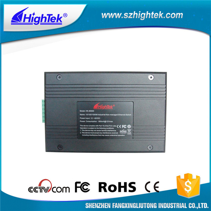 Black 5 port gigabit industrial ethernet non-managed switch