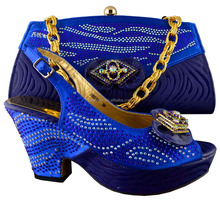 free shipping italian matching square heel 3inch blue shoes and bag set /ladies shoes and matching bag for bride