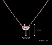 rose gold wine diva cup pendant fashion girls gift cz latest design beads necklace