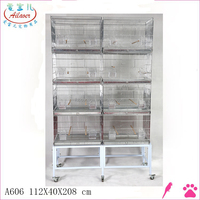 SMALL PARROT BIRD FINCH CANARY BIRD AVIARY CAGE WIRE BREEDING BIRD CAGE W/STAND AND WHEEL