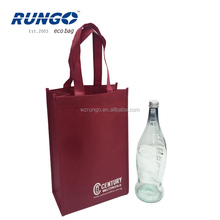 Burgundy Personalized Non-Woven Vineyard Two Bottles Wine Carrier Bags