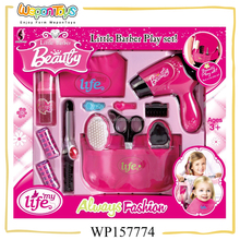 girls fashion little barber play set pretend plastic kids makeup sets with ASTM
