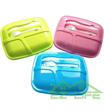 cheap healthy plastic 3 compartment lunch box with cutlery