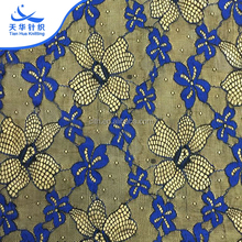 TH- 8865 High Quality Navy Blue Textile Lace Fabric In Chinarim