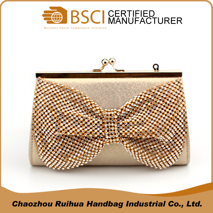 Classic design gold metal mesh ladies clutch bag evening bag with bow