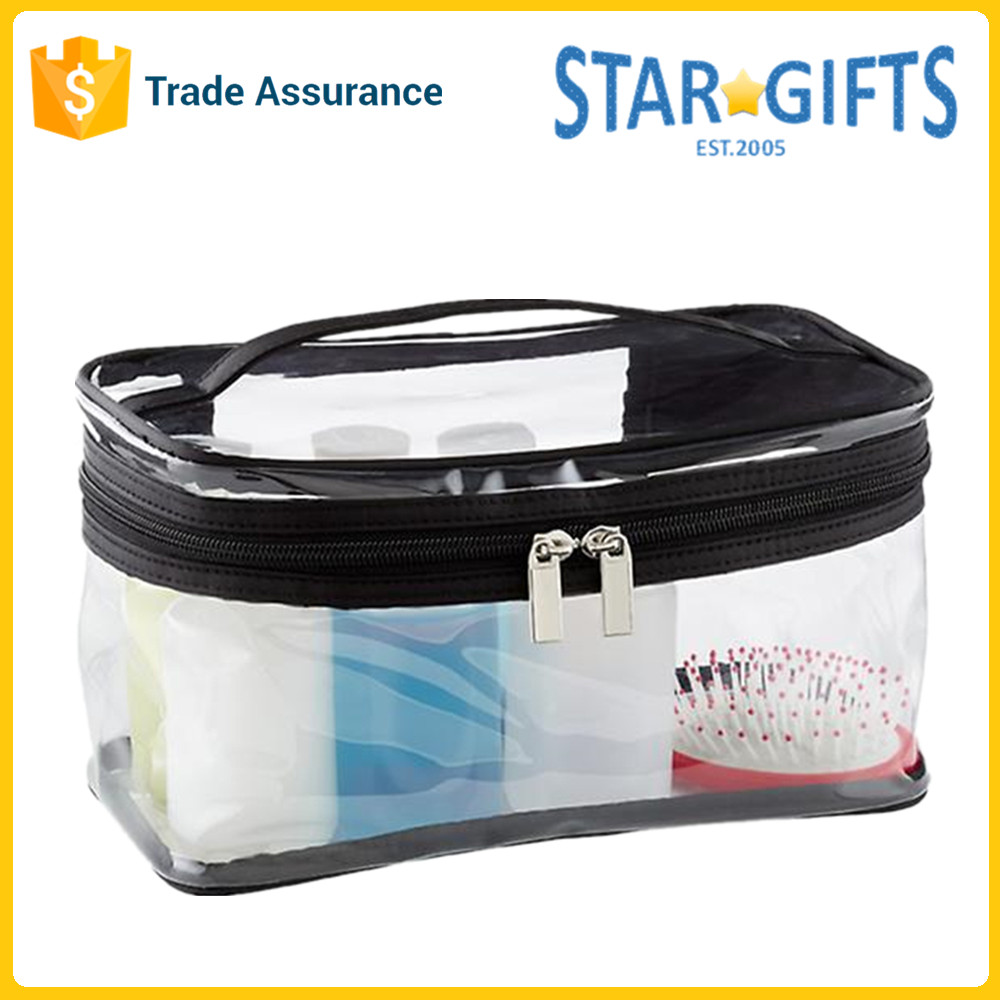 Double Zippered Easy Clean Custom Large Clear PVC Train Case Makeup Bag