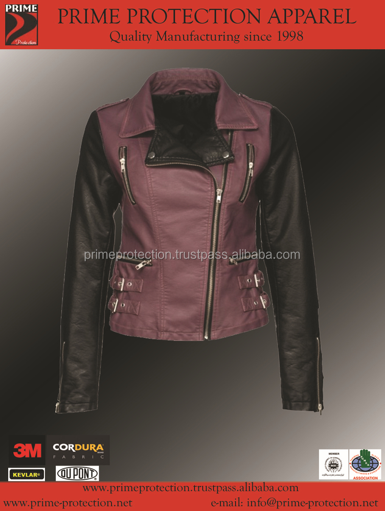 Motorcycle Leather Jacket Black color new design 2015