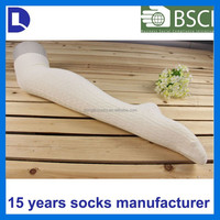 OEM ribbed cotton white cable knitted lady long stocking overknee socks