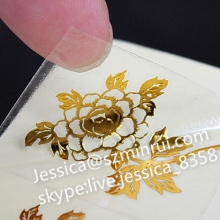 Custom Transparent Label Adhesive Waterproof Private Attractive Gold Foil Stamping Transparent Vinyl Sticker Printing