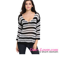 Black Stripes Long Sleeve Sheer Knit Sweater Woman Clothes Winter 2016