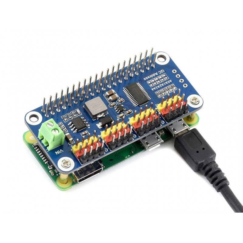 Waveshare Servo Driver HAT for Raspberry Pi Zero/Zero <strong>W</strong>/Zero WH/2B/3B/3B+,16-Channel,12-bit,I2C Interface,PWM output